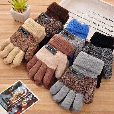 Kids Knitting Wool Gloves Children Full Finger Mittens Winter Warm Thick Gloves