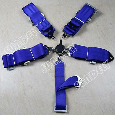 """Racing Seat Harness Belt Quick Release 3"""" Inch 4 5 Point Eye Bolts (Blue)"""