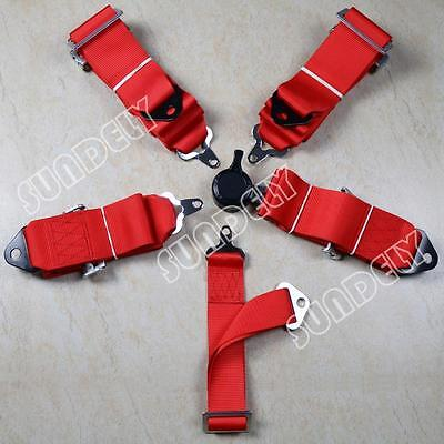 """Sundely Racing Seat Harness Belt Quick Release 3"""" Inch 4 5 Point Red 1-Pcs"""
