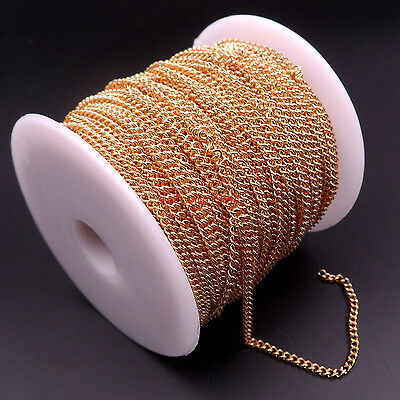 In bulk Gold Stainless steel Thin Cowboy Chain Finding Jewelry Marking DIY 2mm