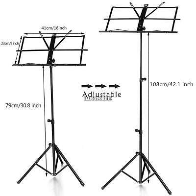 Adjustable Folding Sheet Music Stand Score Holder Mount Tripod with Carrying Bag