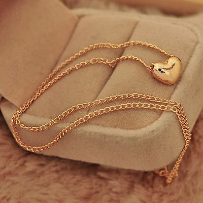 Chic Gold Plated Heart Women Bib Statement Chain Jewelry Pendant Necklace