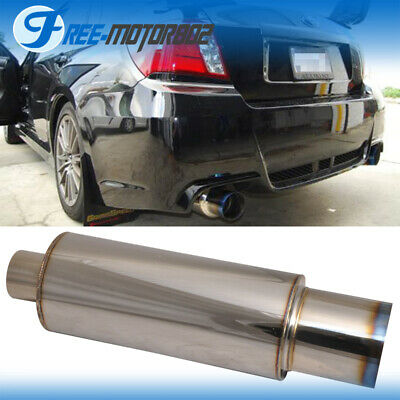 Fit Honda Civic Accord Stainless Steel Muffler 4 Inch Flat Color Tip Silencer