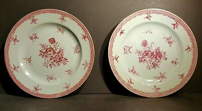 Pair Early Antique Chinese Export Famille Rose Iron Red Floral Plates 1730s