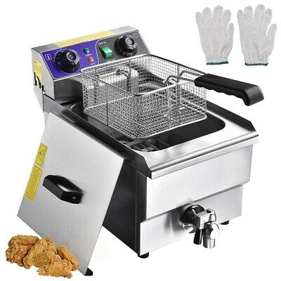 Commercial Restaurant Electric 10L Deep Fryer w/ Timer and Drain Stainless Steel