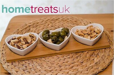 White Heart Shaped Dip Bowls With Wooden Display Tray. Set of 3.