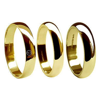 5mm 18ct Yellow Gold D Shape Wedding Rings Profile Bands 750 UK Hallmarked NEW