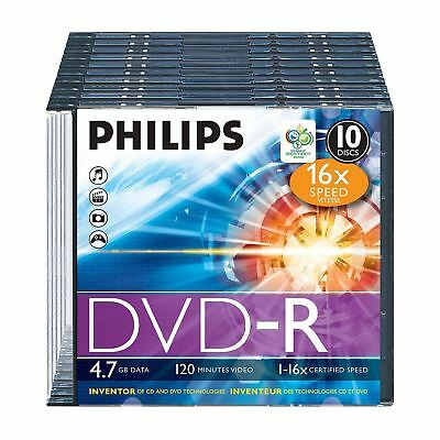 Philips Dvd-R 120 Min Video 4.7Gb Data 16X Speed Blank Disc With Case - 10 Pack