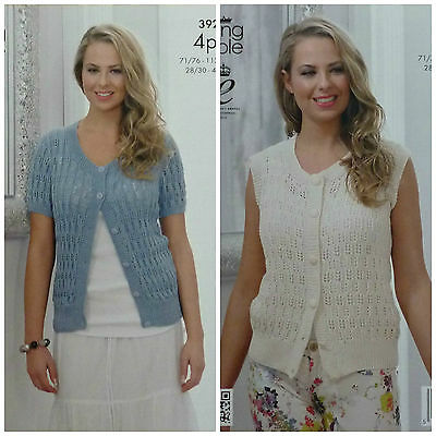 KNITTING PATTERN Ladies Lacy Cardigan & Waiscoat Bamboo Cotton 4ply KC 3922