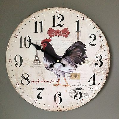 French Country Chic Style Wooden Wall Clock LA POULE Hen,Chicken, Rooster.