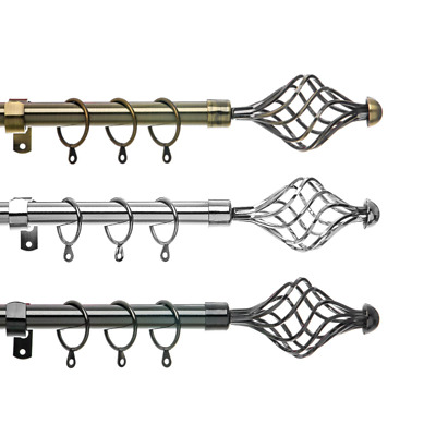 Spiral Extendable Metal Curtain Pole . Includes Rings Finials & Fittings. 19mm
