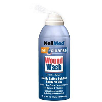 NeilMed WoundWash Sterile NeilCleanse Piercing Aftercare Drug Free 177ml