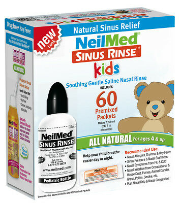 NeilMed Sinus Rinse Kit 60 Days Paediatric Nasal Irrigation Relief 60 Sachets