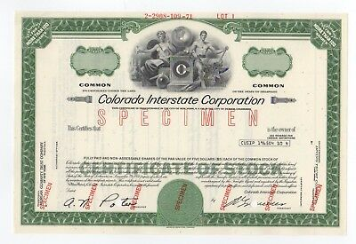 SPECIMEN - Colorado Interstate Corporation Stock Certificate
