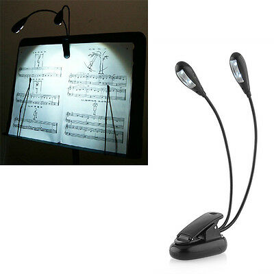 Hot Dual Arm 4 LED Clip On Light Black For Piano Music Stand Book Reading