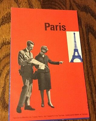 VINTAGE PARIS MAP OF STREETS, ATTRACTIONS, METRO, est 1960's, from estate