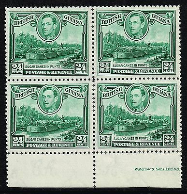 British Guiana 1938-52 24c. sugar canes in punts, MNH block of four (SG#312)