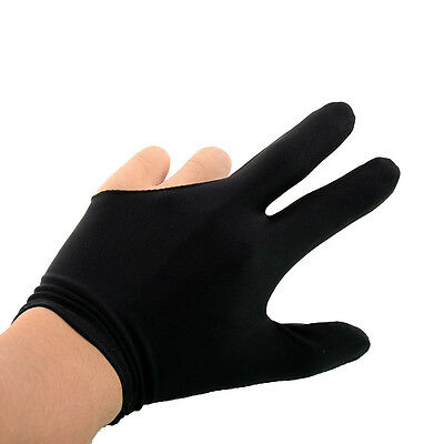 50 Pcs Nylon 3 Fingers Glove for Billiard Snooker Shooter Black New Brand