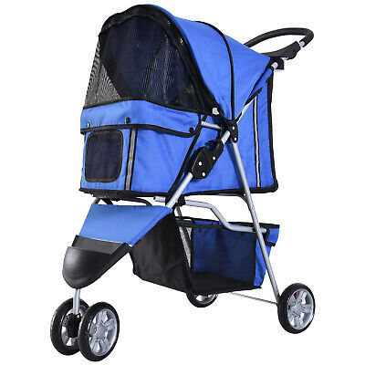 PawHut Pet Stroller Dog Cat Puppy Jogging Pushchair Travel Carrier w/ Wheel Blue