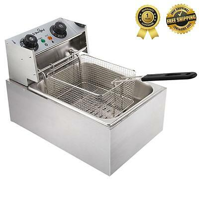 New 5 Star Chef COMMERCIAL Stainless Steel DEEP FRYER w Single Basket Bench Top