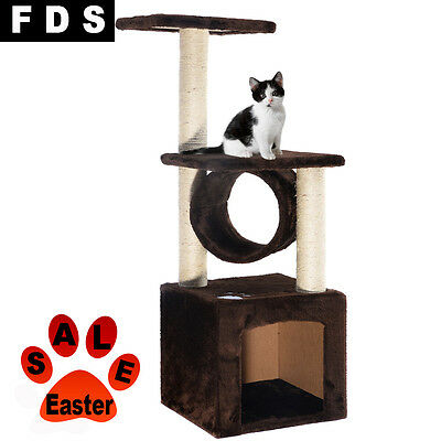 Brown Cat Scratching Tree Scratcher Post Climbing Exercise Rest Nap Bed FDS