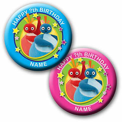 PERSONALISED TWIRLYWOOS BIRTHDAY BADGE/ MAGNETS/MIRRORS 58MM or 77MM