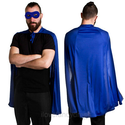 Blue Superhero Cape And Mask Halloween Fancy Dress Comic Book Character Costume
