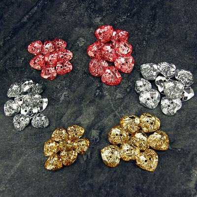 Acrylic Crystal Effect Heart Shape Buttons GOLD SILVER PINK 20L 24L B47