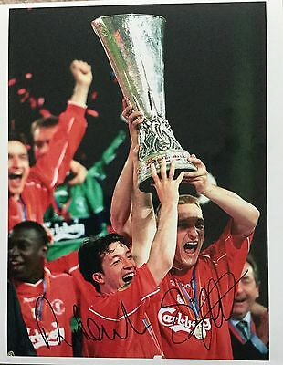Robbie Fowler & Sami Hyypia double signed 10x8 Liverpool photo UACC Registered