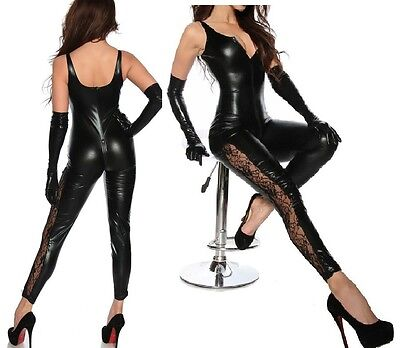 SEXY Vinyl Wetlook Catsuit Fetish LACE Inset Legs with Long Gloves 8 10 12