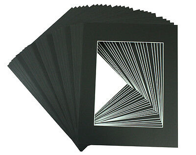 50 set of 12x16 BLACK Photo Mats with White Core for 8x12 Photo + Backing + Bags