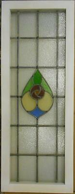 "LARGE OLD ENGLISH LEADED STAINED GLASS WINDOW Stunning Floral 16.75"" x 44"""