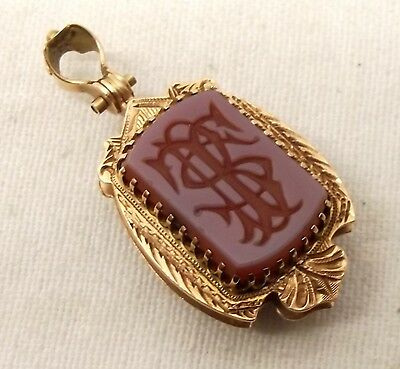 Antique 14K Gold Victorian Locket Picture Frame Man Woman Banded Agate Onyx