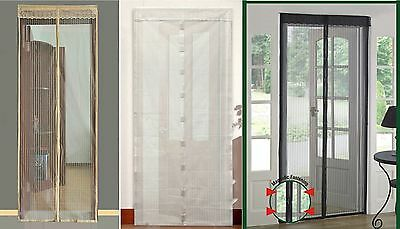 Snap Screen Door Mesh Magnetic Auto Fastening Fly Bug Insect Net Black White