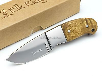 Elk Ridge Mini Hunter Fixed Blade Hunting Knife Full Tang Burlwood Sheath ER111