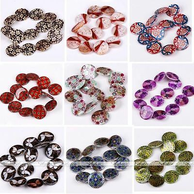 Pretty 30mm Mop Shell Flower Flat Coin Round Loose Bead For Jewelry Finding Diy