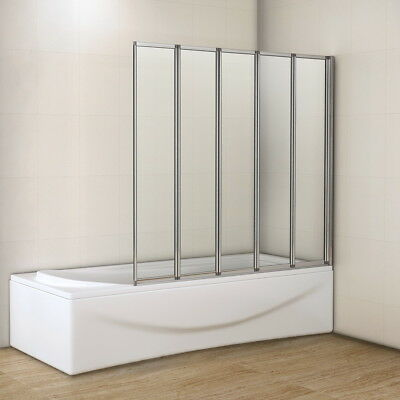 Aica 1200x1400mm 5 Fold Folding Bath Shower Screen Door Panel NEXT DAY DELIVERY