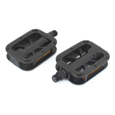 Bike Cycling Bicycle Plastic Nonslip Foot Platform Pedals Black Yellow Pair