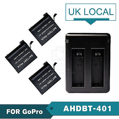 3 x AHDBT-401 Decoded Battery + USB Charger For GoPro Go Pro Hero 4 Black/Silver