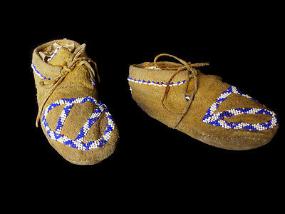 VERY RARE Antique Apache Child's Moccasins, ca. 1910-1920, Worn & DANCED!