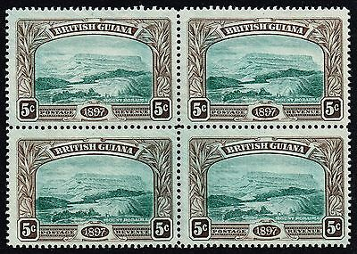 British Guiana 1898 5c. Mount Roraima, MNH block of four (SG#219)