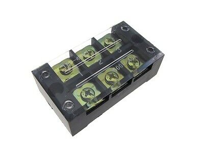 3 Position Screw Barrier Strip Terminal Block w/ Cover 45A