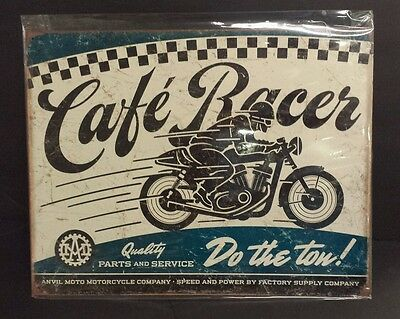 Cafe Racer Anvil Moto Motorcycle Tin Sign