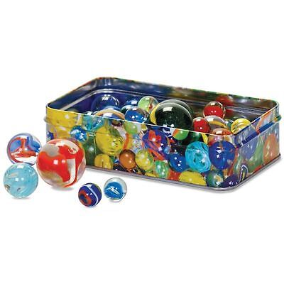 Traditional Set of 60 Glass Marbles in a Tin Gift Box - Colourful Vintage Toys