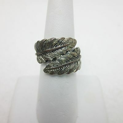 Vintage Textured Silvertone Leaf or Feather Wrap Ring Sz 6