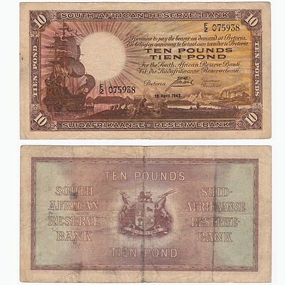 1943 SOUTH AFRICA - £10 Pounds Banknote - P87.