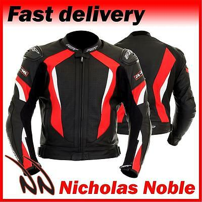 RST R-16 1068 Black Red FULL GRAIN LEATHER STREET SPORTS MOTORCYCLE JACKET