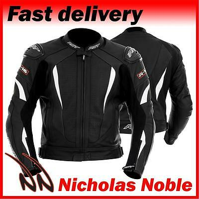 RST R-16 1068 Black White FULL GRAIN LEATHER STREET SPORTS MOTORCYCLE JACKET
