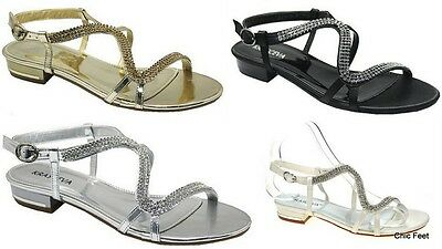New Womens Diamante Flat Low Heel Bridal  Prom Evening Wedding Sandals UK 3 - 8
