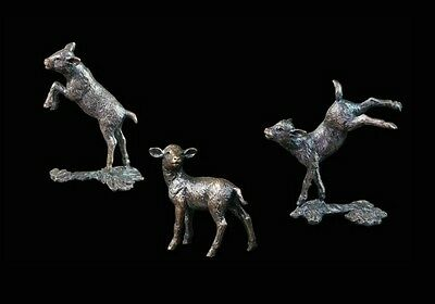 Three Little Lambs Solid Bronze Foundry Cast Sculptures by Michael Simpson [488]